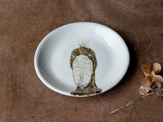 粉引丸皿(ハシビロコウ正面)【クリックポスト198円可】の画像