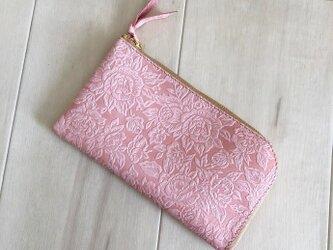 スマホ入る L字長財布 本革 花柄 ローズ ピンクの画像