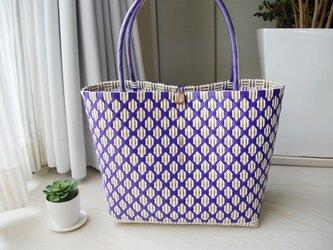 モノグラム風ダイヤトート(紫)~Mサイズ~の画像