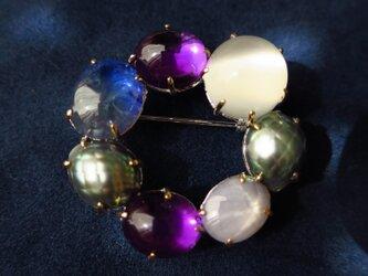 SV・K18 Color Stone Circle Brooch 3の画像