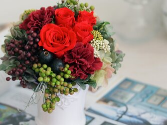 le jardin (ル シャルダン) プリザーブドフラワー レッド/グリーン 誕生日・還暦祝い・退職祝いの画像