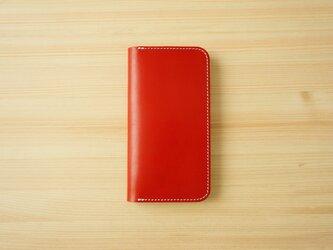 牛革 iPhone 11 カバー  ヌメ革  レザーケース  手帳型  レッドカラーの画像