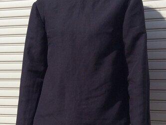 コットンリネンの体型カバーTブラウスVネックディープネイビーの画像