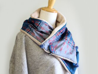 チン族手織り綿とオーガニックコットンファーのマフラー【ブローチ付き】の画像