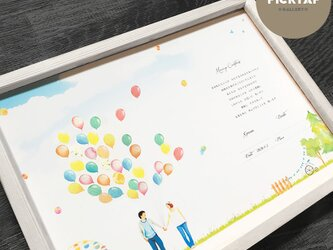 ▪️picktap's gallery▪️ウェディングバルーン台紙&シールセット  結婚証明書 ゲストブック 芳名帳の画像