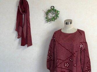 ☆絞りのパフ袖ブラウス・ストールの画像