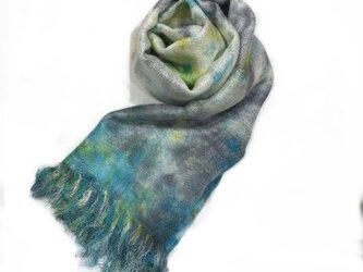 国産シルク100%手描き染めストール blue&gray&yellowの画像