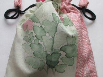 4533 花柄と絞りの着物で作った巾着袋 #送料無料の画像