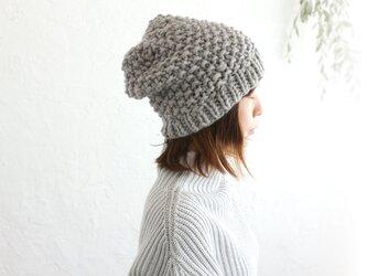 羊毛100% ふんわりニット帽 (パールグレー)の画像