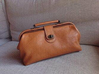 ハンドメイド 手縫い 本革 鞄 ダレス バッグ キャメルの画像