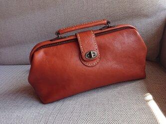 ハンドメイド 手縫い 本革 鞄 ダレス バッグ ブラウンの画像