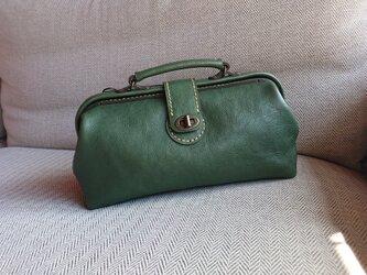 ハンドメイド 手縫い 本革 鞄 ダレス バッグ グリーンの画像