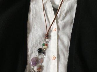 アメジストと黒水晶のネックレスの画像