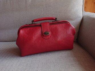 ハンドメイド 手縫い 本革 鞄 ダレス バッグ レッドの画像