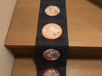セール ヴィンテージ紬のタペストリー 藍に円窓 お正月の風景の画像