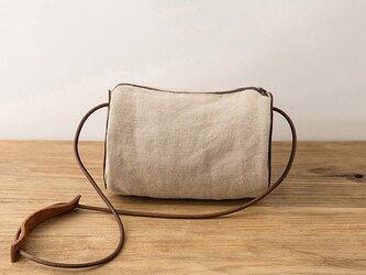 綿麻+牛革 バケットショルダーバッグの画像