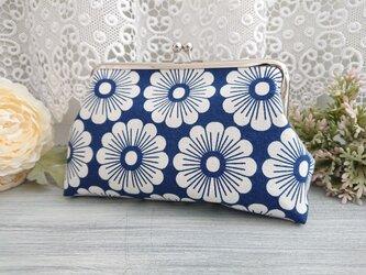 ◆北欧風デイジーがま口ネイビー*マーガレット菊カモミール花柄フラワーの画像