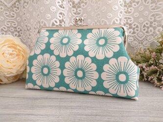 ◆【再販2】北欧風デイジーがま口ミントグリーン*マーガレット菊カモミール花柄フラワーの画像