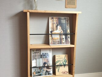 ひまめいおーちゃん様オーダー品 2段ブックシェルフ ダークウォルナット×アイアンの画像