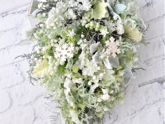 50cm スワッグ アイスグリーン:クリスマス 水色 ホワイト 雪の結晶の画像