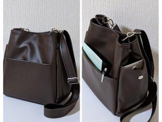 ダークブラウンレザー(pvc)ポケットいっぱいショルダーバッグの画像