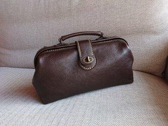 ハンドメイド 手縫い 本革 鞄 ダレス バッグ こげ茶の画像