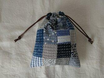刺し子のパッチワーク巾着 Mの画像