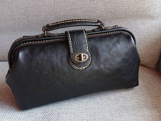 ハンドメイド 手縫い 本革 鞄 ダレス バッグ ブラックの画像