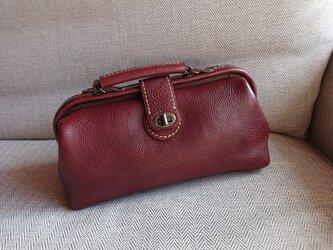 ハンドメイド 手縫い 本革 鞄 ダレス バッグ ワインの画像