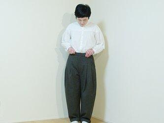 wide pants wool  -khaki-の画像