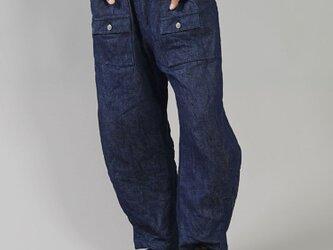 【wafu】 リネン100% デニム ブッシュパンツ 男女兼用 色落ちします ウエストゴム / インディゴ b013e-ind3の画像