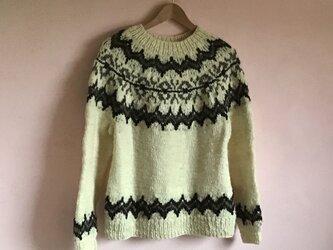 手紡ぎ天然毛糸 手編みノルディックセーターの画像