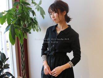 【 Lサイズ】ふわふわダブルガーゼで魅せる、2wayリボンギャザーデザインシャツワンピース(ブラック)の画像