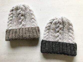 two-toneニット帽子の画像
