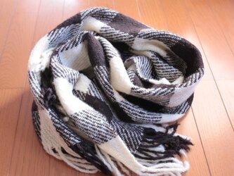 【手紡ぎ・手織り】国産の白と黒2頭の羊毛で作ったチェック柄ブランケットの画像