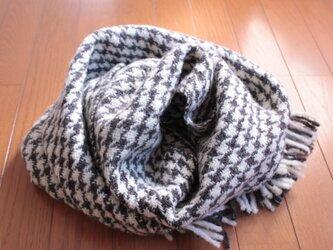 【手紡ぎ・手織り】国産羊毛・白と黒の千鳥格子ブランケットの画像