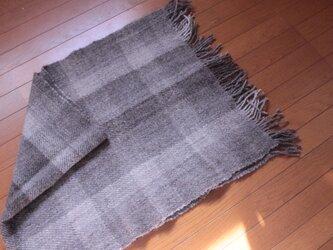 【手紡ぎ・手織り】自然色 ショール ブランケットにの画像
