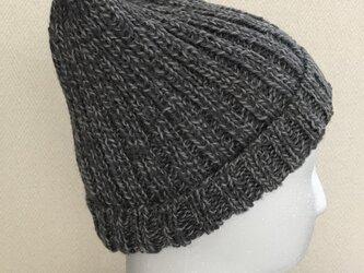 ニット帽ーーーグレー濃淡ミックスの画像