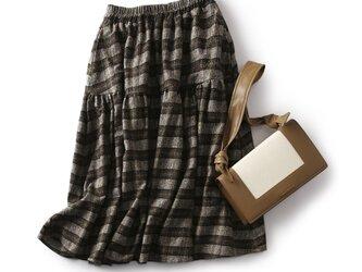 ウール混 秋冬らしいチェック柄スカート ギャザースカート 191105-2の画像