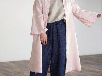 【wafu】 ちび襟 前開き羽織 ワンピース 中厚リネン  /シェルピンク a026e-spk2の画像