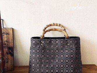 [再販]手織りバンブー2wayバッグ ブラック×ベージュの画像