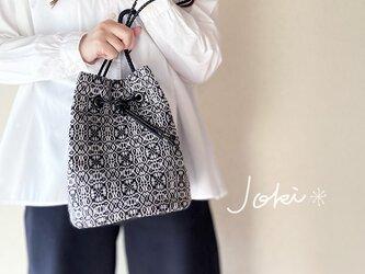 [再販]bag[手織りオーバーショット織  巾着バッグ]グレー×ブラックの画像