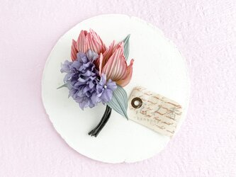 "Corsage : コサージュ "" bouquet. "" (チューリップ2輪×紫陽花)の画像"