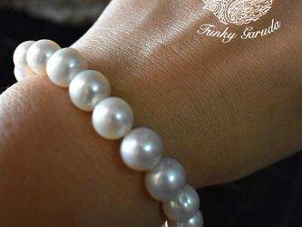 高品質★フレッシュウォーターパール真珠ブレスレット prb001の画像