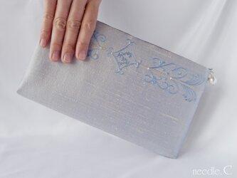 インドシルク刺繍模様のクラッチバッグ 2way可能 パーティー フォーマルの画像