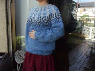 デニム濃淡セーターの画像