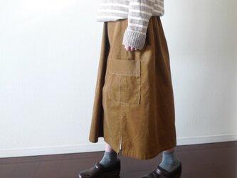コール天(コーディロイ) ワークロングスカート キャメルブラウン セミオーダーの画像