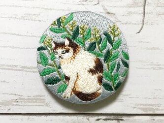 手刺繍日本画ブローチ*丸山応挙「菜花遊猫図」よりの画像