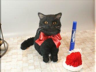 羊毛フェルト 猫 黒猫さん ねこ ネコ 猫フィギュアの画像