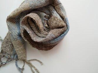 ホームスパン 草木染 ふっくらあったか手織り藍染めマフラー 311の画像